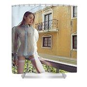 Girl On Balcony Shower Curtain