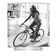 Girl On Bike Sculpture Grand Junction Co Shower Curtain