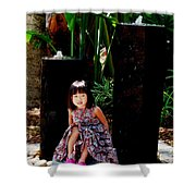 Girl On Rocks Shower Curtain