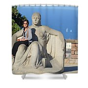 Girl On Statue Mt. Juic Barcelona Shower Curtain