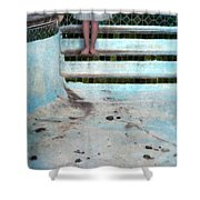 Girl On Steps Of Empty Pool Shower Curtain