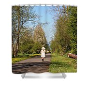 Girl On Trail In Straw Hat Shower Curtain