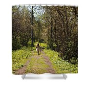 Girl On Trail With Walking Stick Shower Curtain
