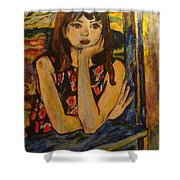 Girl On Window Shower Curtain