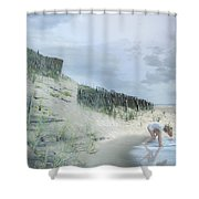 Girl Picking Up Sea Shells Shower Curtain