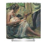Girl Playing Domra  Shower Curtain