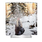 Girl Playing In The Snow In The Woods Shower Curtain