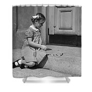 Girl Playing Jacks, C.1930-40s Shower Curtain