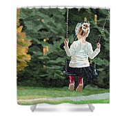 Girl Playing Outside Shower Curtain