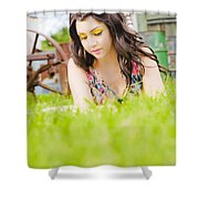 Girl Reading Book Shower Curtain