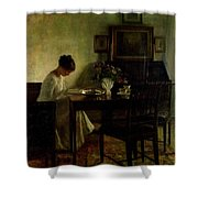 Girl Reading In An Interior  Shower Curtain