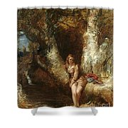Girl Seated Beside A Woodland Pool Shower Curtain