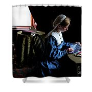 Girl Sewing Shower Curtain