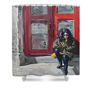Girl Sitting At Red Doorstep Shower Curtain