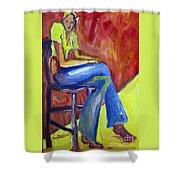 Girl Sitting Shower Curtain