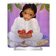 Girl Sitting Under Mango Tree Shower Curtain