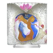 Girl Spreading Hearts Shower Curtain