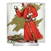 Girl Throwing Snowballs In A Christmas Landscape Shower Curtain