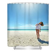 Girl Under The Sunshine Shower Curtain