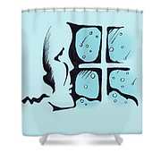 Girl Watching The Snow Shower Curtain