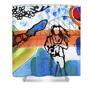 Girl With A Bat Shower Curtain