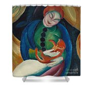 Girl With A Cat II Shower Curtain