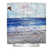 Girl With A Kite Shower Curtain