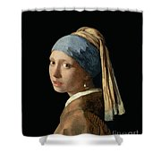 Girl With A Pearl Earring Shower Curtain by Jan Vermeer