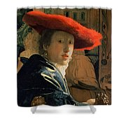 Girl With A Red Hat Shower Curtain