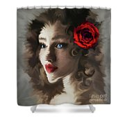 Girl With A Red Rose.. Shower Curtain