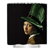 Girl With A Shamrock Earring Shower Curtain