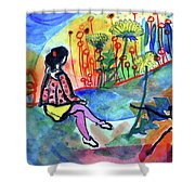 Girl With A Spider Shower Curtain