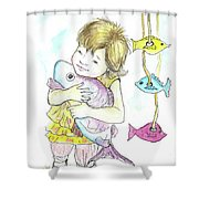 Girl With A Toy-fish Shower Curtain