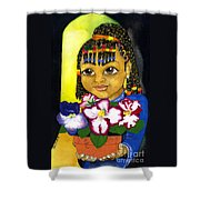 Girl With African Violet Shower Curtain