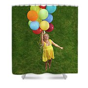 Girl With Air Balloons Shower Curtain