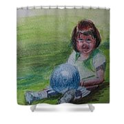 Girl With Ball Shower Curtain
