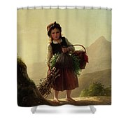 Girl With Basket Shower Curtain