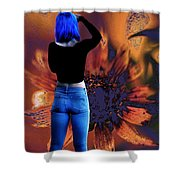 Girl With Blue Hair Shower Curtain