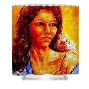 Girl With Blue Shawl Shower Curtain