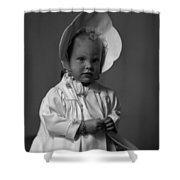 Girl With Bonnet And Curls Shower Curtain
