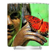 Girl With Butterfly Shower Curtain