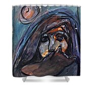Girl With Cat And Moon Shower Curtain