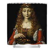 Girl With Cherries  Shower Curtain