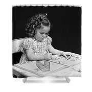 Girl With Coloring Book, C.1960-40s Shower Curtain