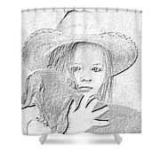 Girl With Dog Shower Curtain