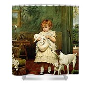 Girl With Dogs Shower Curtain by Charles Burton Barber