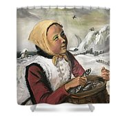 Girl With Fish Basket Shower Curtain