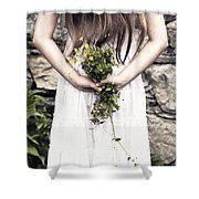 Girl With Flowers Shower Curtain