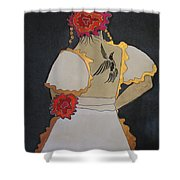 Lady With Flowers Shower Curtain