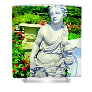 Girl With Grapes In Garden Shower Curtain